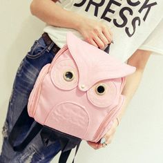Designer Cute Owl PU Leather Ladies Backpack 5 Colors