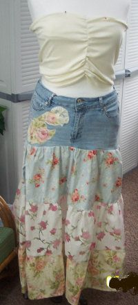 old jeans - new summer skirt.  I kind of like this idea.  Could I Steampunk-ify it?