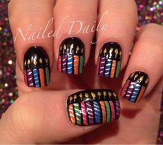 Birthday candle nail art design by Nailed Daily
