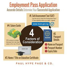 There are few factors for successful Employment Pass application in #Singapore. Talk to us for more information at +65 6221 4733 or contact us at contact@paulhypepage.com #singaporeworkpass #expat #expatriate #expatlivingsg #foreigninvestment #foreigncompany #workpermit #employmentpass #immigration #workvisa #workpass #singaporeworkvisa #singaporeworkpermit #businessadvice #visaagent #infographic #businessadvice #businessconsultant #entrepreneurs #startup #entrepreneur #businessconsulting