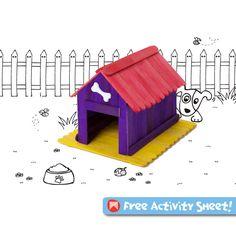 Craft Activities for Kids - Dog Kennel #construction #craftsticks #kidscraft