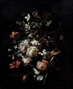 """Roses, tulips, carnations, a butterfly and other flowers in a vase on a table"" by Simon Pietersz Verelst"