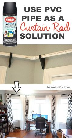 Use PVC pipe to make low-cost curtiain rods! -- 29 Cool Spray Paint Ideas That Will Save You A Ton Of Money Use PVC pipe to make low-cost curtiain rods! -- 29 Cool Spray Paint Ideas That Will Save You A Ton Of Money Easy Home Decor, Cheap Home Decor, Home Decoracion, Ideas Hogar, Diy Décoration, Easy Diy, Do It Yourself Home, Window Coverings, Bay Window Treatments