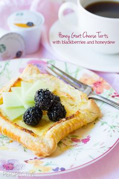 Honey Goat Cheese Tart with Blackberries and Honeydew