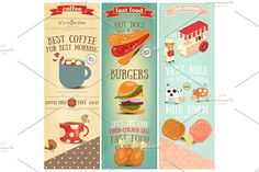 Coffee, Fast Food, Ice Cream Banners by elfivetrov on @creativemarket