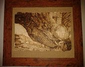 Pyrographed framed wooden plaque of Smaug from the Hobbit