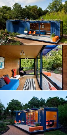 Shipping Container Guest House by Jim Poteet. This is exactly how I want my studio- green roof included.