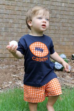 Orange Gingham Short Set with Navy Football Shirt by FuchsiaFrog, $36.00