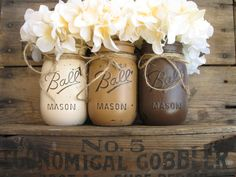 Set Of 3 Pint Mason Jars, Mason Jars, Rustic Home Decor, Country Home Decor, Dark Brown Light Brown & Creme Mason Jars