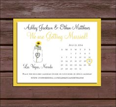 75 Mason Jar with Sunflower Save the Date Cards with FREE Calendar Stickers - Price includes personalization and printing. on Etsy, $33.75