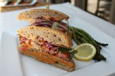 Masa and Pecan-Crusted Sweet Potato Sandwich with Chipotle Cilantro Mayo Recipe