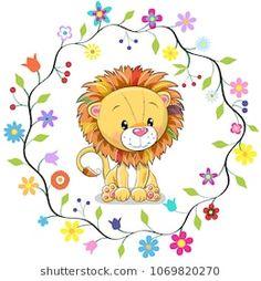 Cute Lion in a flowers frame. Cute Cartoon Lion in a flowers frame royalty free illustration Cartoon Lion, Cartoon Monkey, Cartoon Drawings Of Animals, Cute Cartoon Pictures, Cute Images, Cartoon Chicken, Cute Lion, Cute Teddy Bears, Baby Art