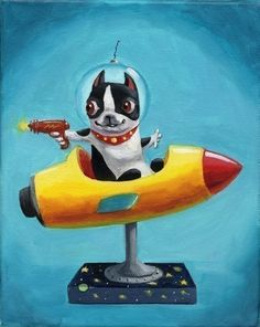 Space Rangers - Boston Terrier Print from oil painting. $28.00, via Etsy.