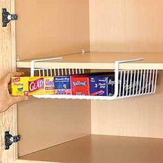 Amazon.com: Under the Shelf Wrap & Bag Holder Kitchen Hanging Basket Storage Bin: Kitchen & Dining