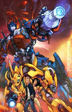 Poster animado de la saga #Transformers 1 - Optimus Prime, Bumblebee, Sam y Mikaela.