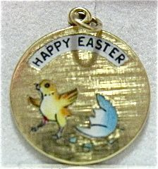 14K GOLD ENAMEL HAPPY EASTER CHARM