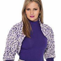 Receita de um Lindo Bolero, lilás e branco feito em tricô, com o Fio Cisne Fast, da Coats Corrente.