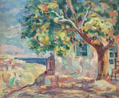 The House With Linden Tree from Balcic - Nicolae Darascu River I, Sunflower Fields, Post Impressionism, Art Database, Cool Artwork, Amazing Artwork, House, Image, Tree Paintings