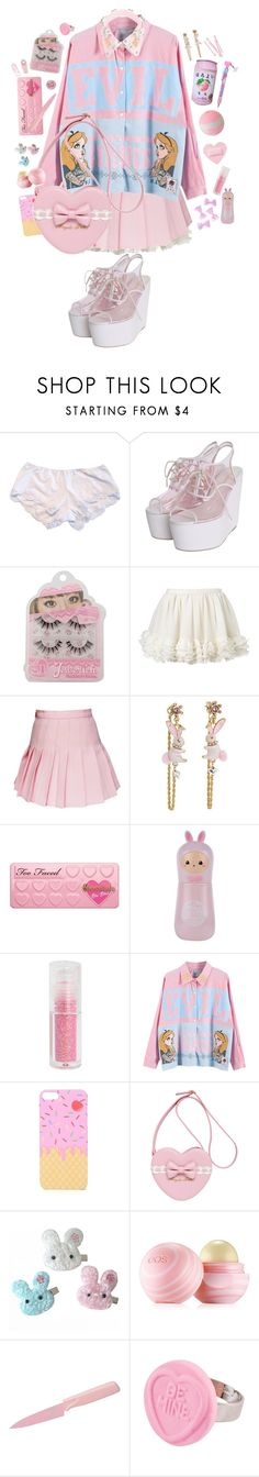 """Ruined cake"" by bandaidkid ❤ liked on Polyvore featuring Only Hearts, Betsey Johnson, Too Faced Cosmetics, Meadham Kirchhoff, Cotton Candy, TONYMOLY, With Love From CA, Eos, Kuhn Rikon and BOBBY"