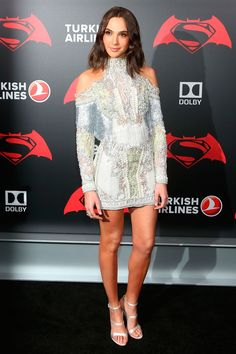 20 March Gal Gadot made a statement in an embellished Balmain mini dress for the event. - HarpersBAZAAR.co.uk