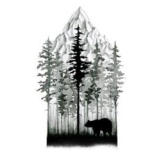 Image result for pine tree mountain tattoo