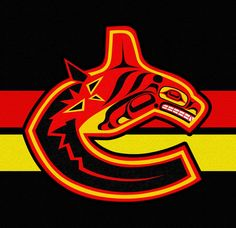 Old school Vancouver Canucks logo as seen by Andy Everson, Northwest Coast Artist