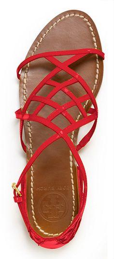 Tory Burch Amalie Patent Leather Sandal - I need some flat, bright sandals. Leather Sandals, Flat Sandals, Patent Leather, Red Sandals, Sandals Outfit, Strappy Sandals, Red Leather, Red Shoes, Cute Shoes