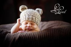 Newborn Knitted Baby Hat Bear Hat Photo Prop by PhylPhil on Etsy, $20.00