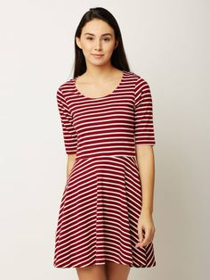 4acca3d47d2df Maroon and White Round Neck Striped Mini Skater Dress
