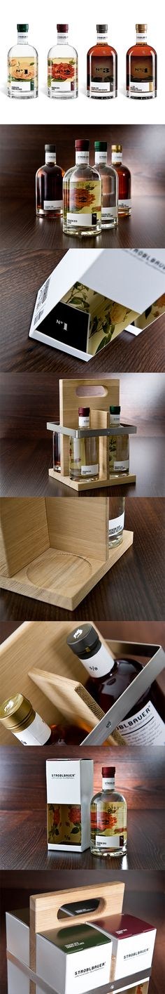 creative packaging for multiple glass containers STROBLBAUER alcohol packaging design