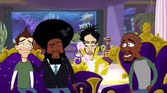 Neal Brennan, Questlove, Prince, and Dave Chappelle cartoon by Grantland: Prince. YouTube link