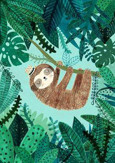 Perezoso - Rebecca Jones -Impresión de Giclee de una ilustración original