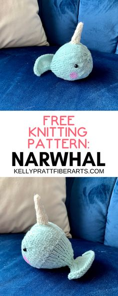 Use this easy to make, FREE narwhal knitting pattern to make a tiny narwhal amigurumi knit toy. This pattern uses medium weight yarn and is the perfect stash buster knitting project. #knittoys #amigurumi #easyknitting #kellyprattfiberarts #knttingpatterns #easyamigurumi #craftblog Knitted Throw Patterns, Chunky Knitting Patterns, Crochet Toys Patterns, Amigurumi Patterns, Stuffed Toys Patterns, Craft Blogs, Diy Craft Projects, Project Ideas, Cast On Knitting