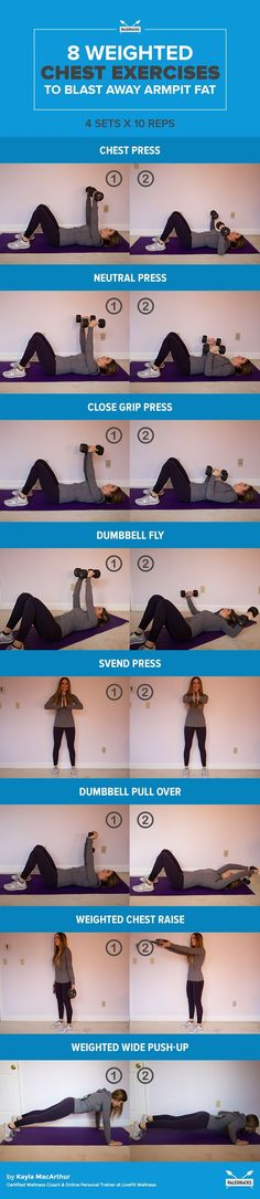 Fitness Motivation : Blast away pesky armpit fat with these killer chest exercises you can do at home. - All Fitness Fitness Workouts, Exercise Fitness, Body Fitness, Excercise, Fitness Goals, At Home Workouts, Health Fitness, Cardio Workouts, Fitness Weightloss