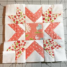 I see all my imperfections but I think it turned out pretty cute for the middle of my test Dwell block. #bandcdwellswap #dwellquilt #thimbleblossoms #bonnieandcamille #simplyretro