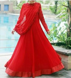 for the kind of Tuesday! sure knows her drapes. Don't you absolutely love this red ensemble? Pakistani Dress Design, Pakistani Dresses, Indian Dresses, Indian Outfits, Frocks And Gowns, Anarkali Dress, Anarkali Gown, Anarkali Suits, Beautiful Red Dresses