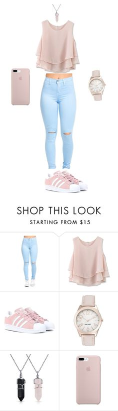 """""""Rosy"""" by fwgabi ❤ liked on Polyvore featuring Chicwish, adidas Originals, Nine West, Bling Jewelry, cute, contest, outfit, rosegold and matching"""