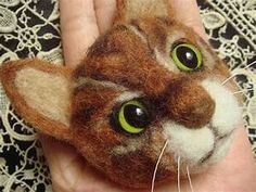 Needle felted cat face / /Handfelted cat green eyes ...