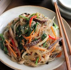 Japchae, made of yam noodle with vegetables and beef.