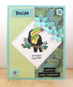Bev's Creative Path: Toucan Be Happy Card | Toucan Party stamp set by Newton's Nook Designs #newtonsnook #handmade