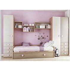 Compacta Baja 1 Plaza y Box Room Bedroom Ideas, Small Room Bedroom, Girls Bedroom, Bedroom Decor, Bedroom Closet Design, Kids Bedroom Designs, Teenage Girl Room Decor, Bed Nook, Kids Room Furniture