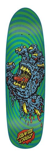 The Decay Hand by Santa Cruz Skateboards is a fun, yet functional 8.375 inches wide. This board will make a great cruzer or is great with normal, hard wheels at the skate park or in the street. The on