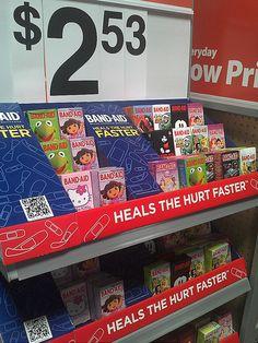 Band Aid PDQ Tray by kendalkinggroup, via Flickr Hurts Band, Band Aid, Trays, Walmart, Healing, Pop, Cute, Design, Popular