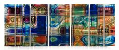 Island Glass Abstract Metal Wall Hanging Set of 7 - Contemporary Metal Art