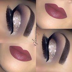 Berry lipstick and glam cat eye