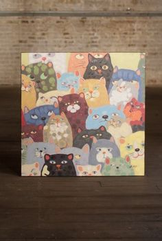 """Kalalou Cats Cats Cats Oil Painting 32x32""""  20% off www.zuzus-petals-vintage-home.myshopify.com #cats #oilpainting #whimsical"""