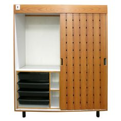Wardrobe Designed by Charlotte Perriand in 1967 for Les Arc Ski Lodge, France | From a unique collection of antique and modern wardrobes and armoires at https://www.1stdibs.com/furniture/storage-case-pieces/wardrobes-armoires/