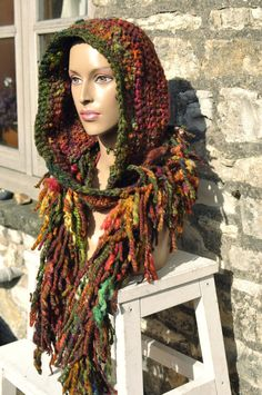 Hooded scarf hood snood 'Wood Sprite' READY to SHIP - Hand dyed & handspun wool art yarn red orange green // Handmade natural clothing women