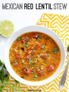 Fire roasted tomatoes, flavorful spices, and fresh lime and cilantro to finish. This Mexican Red Lentil Stew is anything but ordinary!  BudgetBytes.com