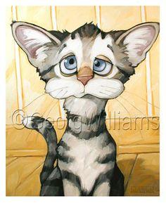 cute cat art - Jones by Georg Williams I Love Cats, Cool Cats, Weird Cats, Image Chat, Gatos Cats, Cat Drawing, Dog Art, Mail Art, Pet Portraits